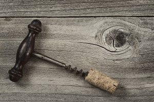 Old Wine Corkscrew and used cork