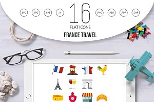 France travel set flat icons