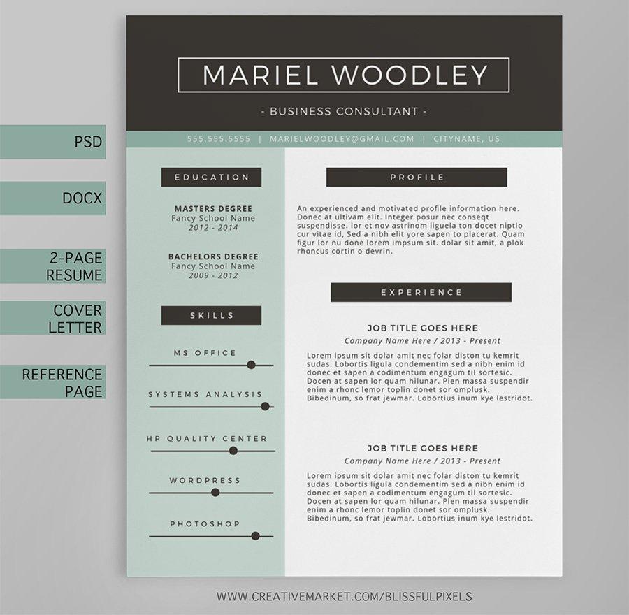 Resume Template 4-Page - CV Template ~ Resume Templates ~ Creative ...