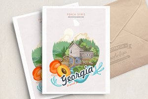 Georgia USA set. Vacations card