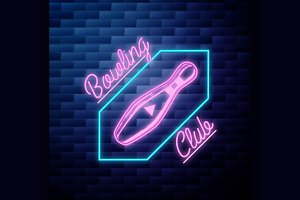 bowling emblem glowing neon sign