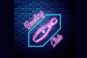 bowling emblem glowing neon sign