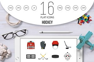 Hockey set flat icons