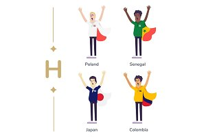 World competition. Soccer fans support national teams. Football fan with flag. Poland, Senegal, Japan, Columbia. Sport celebration. Modern flat illustration.