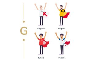 World competition. Soccer fans support national teams. Football fan with flag. England, Belgium, Tunisia, Panama. Sport celebration. Modern flat illustration.