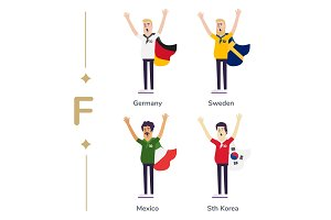 World competition. Soccer fans support national teams. Football fan with flag. Germany, Sweden, Mexico, South Korea. Sport celebration. Modern flat illustration.