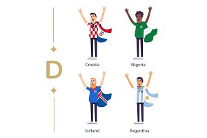 World competition. Soccer fans support national teams. Football fan with flag. Croatia, Nigeria, Iceland, Argentina. Sport celebration. Modern flat illustration.