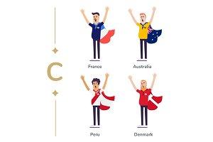 World competition. Soccer fans support national teams. Football fan with flag. France, Australia, Peru, Denmark. Sport celebration. Modern flat illustration.