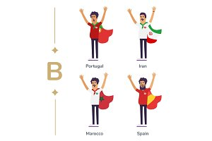 World competition. Soccer fans support national teams. Football fan with flag. Portugal, Iran, Marocco, Spain. Sport celebration. Modern flat illustration.