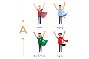 World competition. Soccer fans support national teams. Football fan with flag. Russia, Uruguay, Saudi Arabia, Egypt. Sport celebration. Modern flat illustration.