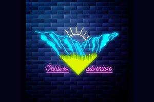 Mounitains emblem glowing neon sign