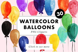 30 Watercolor Balloons many colors