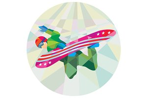 Snowboarder Snowboard Jumping Low Po