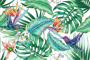 Tropical botanical pattern