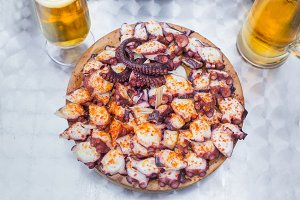 Wooden plate of galician octopus