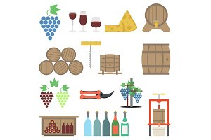 Vine making Flat icon Set