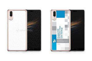 Huawei P20 2d PC Clear Case Mockup
