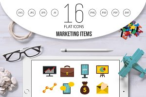 Marketing items set flat icons