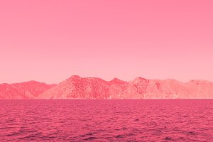 Pink alien mountains