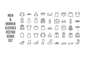 44 vector men & women clothes icons