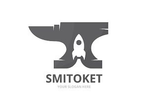 Vector smith and rocket logo