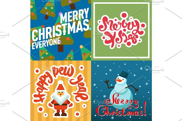 merry christmas greeting card vector background holidays winter new year celebration decoration objects