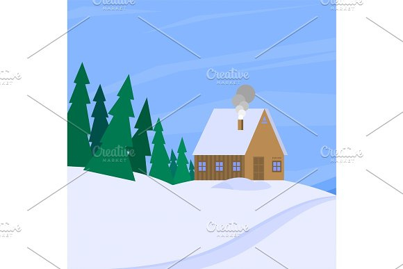 Winter Landscape With Christmas Tree Mountain Frozen Nature Wallpaper Beautiful Natural Vector Illustration