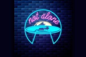space UFO emblem glowing neon sign