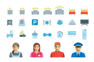 Hotel Services Vector Flat 46 Icons
