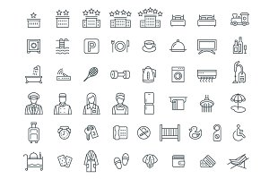 Hotel Services 49 Thin Line Icons