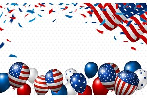 American flag and balloon