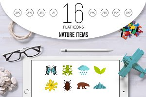 Nature items set flat icons