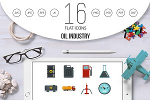 Oil industry items set flat icons