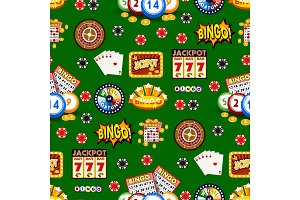 Casino gambling win luck fortune gamble play game seamless pattern background risk chance icons success vegas roulette gaming vector illustration.