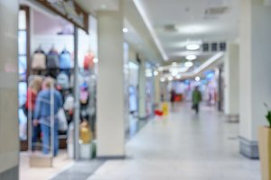 Light corridor in the shopping center