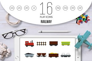 Railway set flat icons