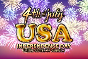 4 july USA independence day gold