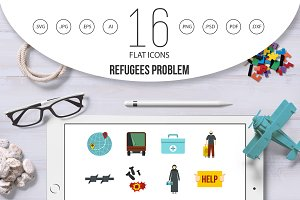 Refugees problem set flat icons