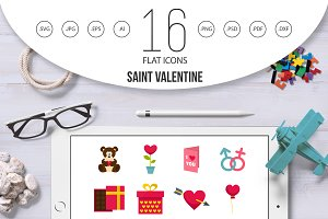 Saint Valentine icons set in flat