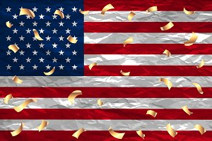 Flag USA 4 th of july gold confetti