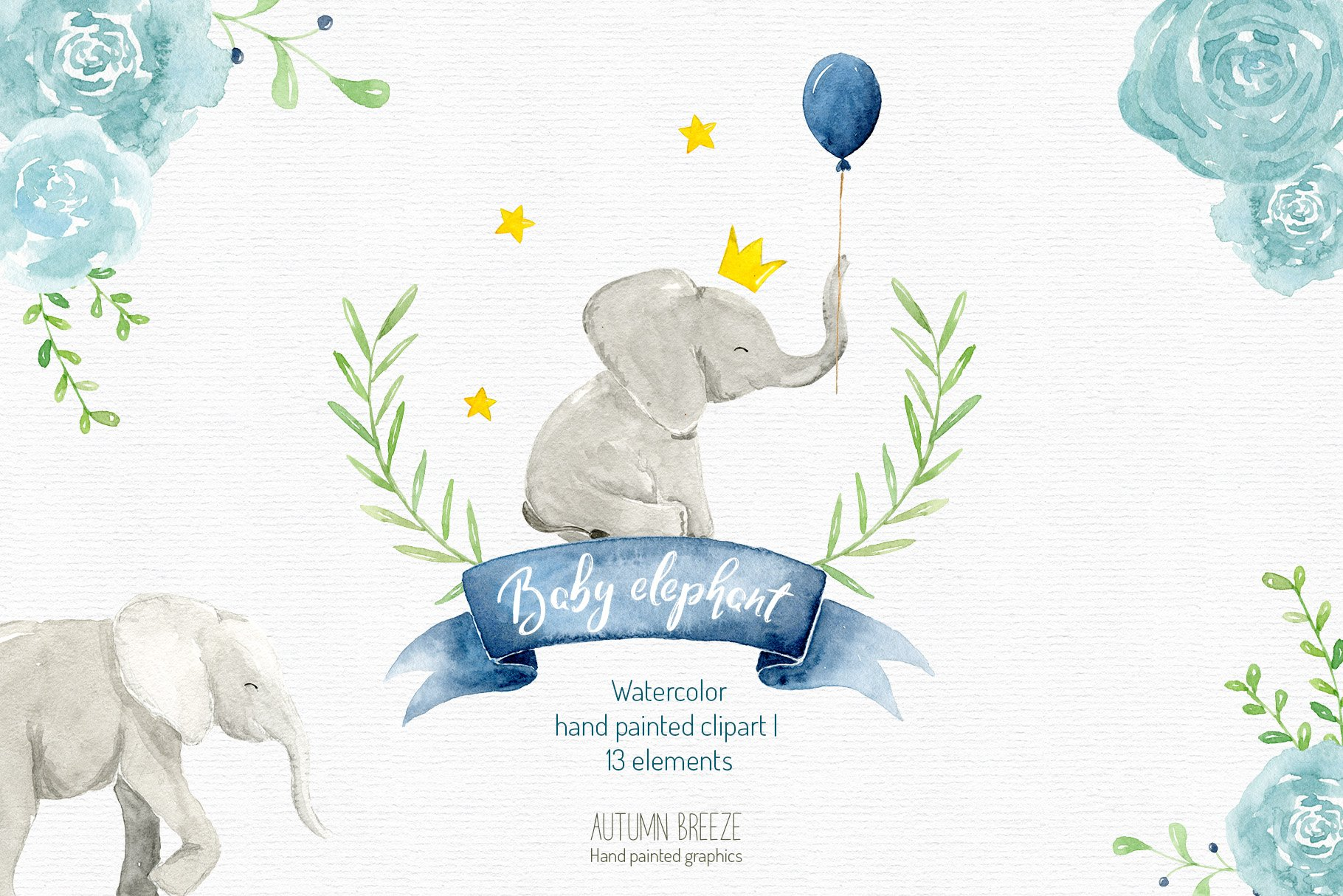 Elephant nursery. Watercolor baby clipart