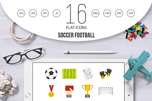 Soccer football icons set in flat