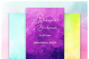 12 Watercolor backgrounds