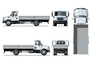 Vector flatbed truck template