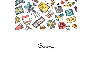 Vector cinema doodle icons background illustration