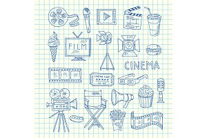 Vector cinema doodle icons