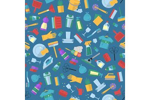 Vector cleaning flat icons illustration