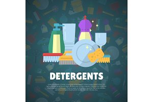 Vector cleaning flat icons background with place for text illustration