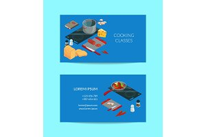 Vector cooking food isometric business card