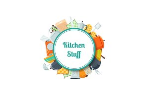 Vector kitchen utensils flat icons with place for text